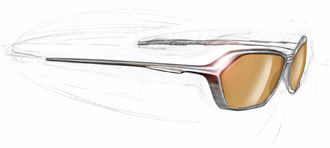 pencil and photoshop rendering of eyewear